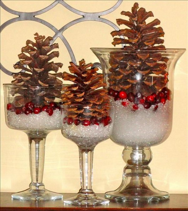 Epsom Salt for Snow with Pinecones