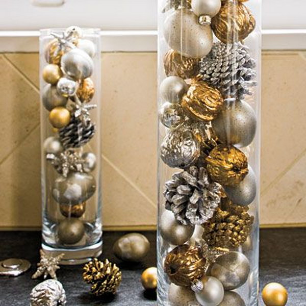 Silver and Gold Pinecones and Ornaments in Cylinders for Centerpiece