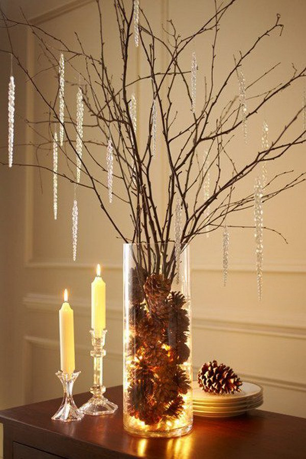Pinecone and Birch Branch Centerpiece.