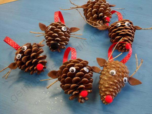 Pinecone Reindeer Ornaments