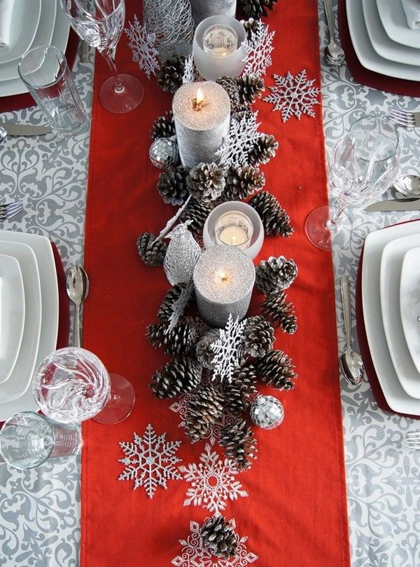 Christmas Table Decorations Using Pinecones