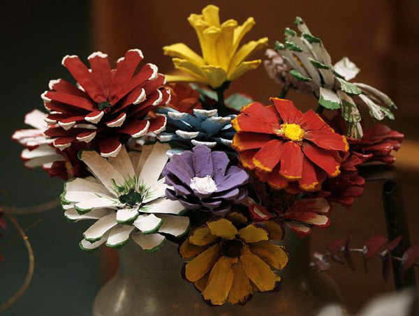 Pinecone Flowers Arrangement