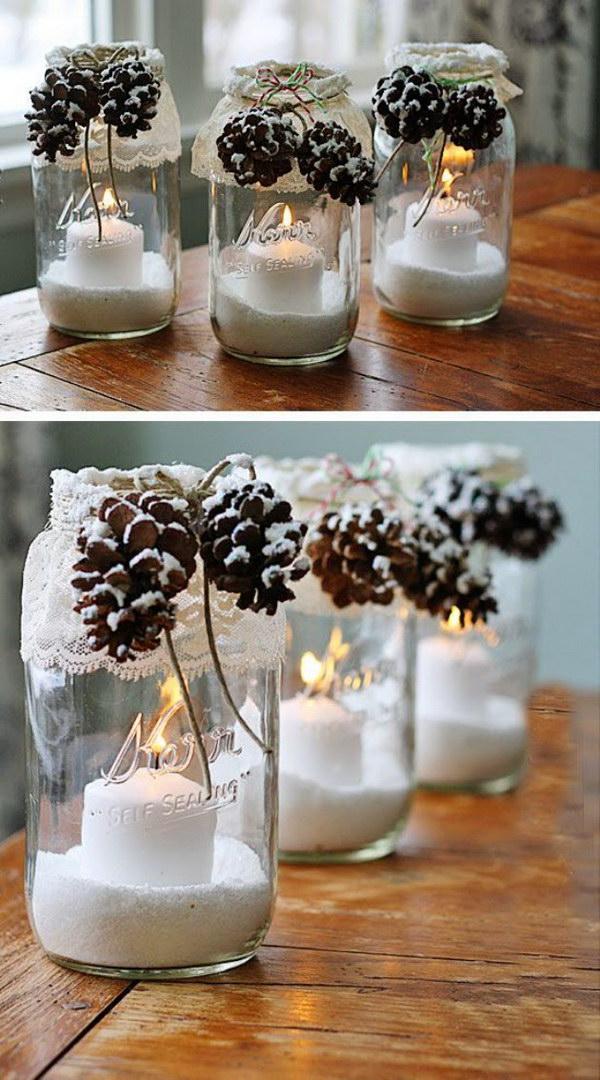 Snowy Pinecone Mason Jar Luminary