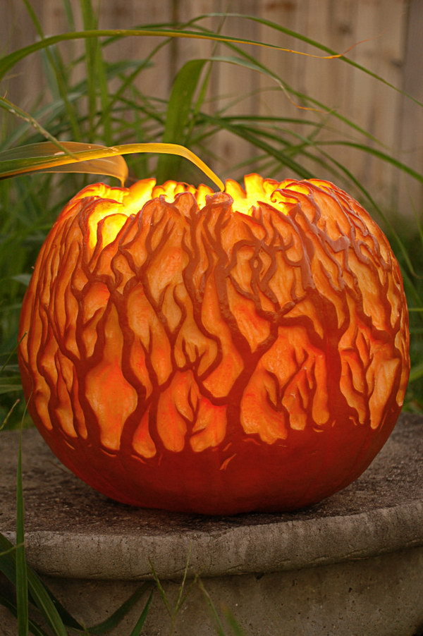 Glowing Forest Carved Pumpkin.
