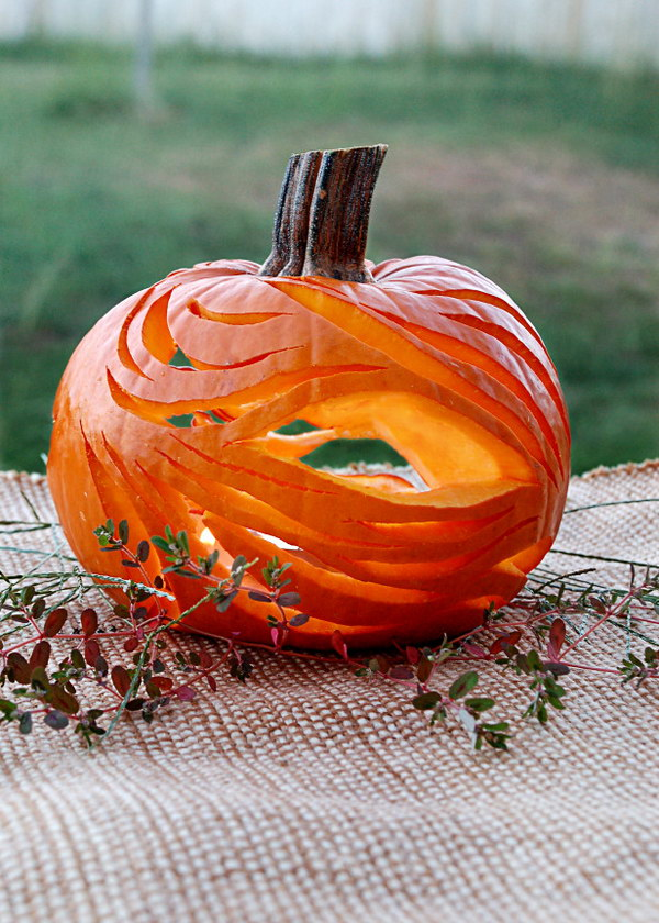 Abstract Pumpkin with Undulating Lines and Flowing Curves.