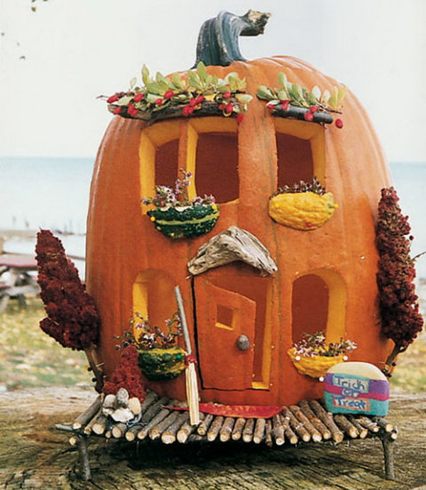 Cute Carved Pumpkin Abode.