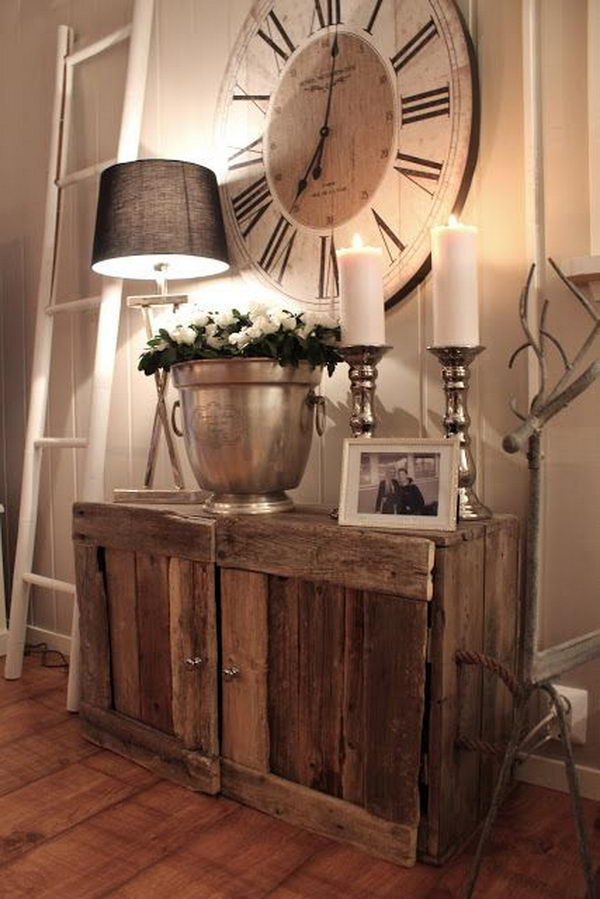 Rustic Cabinet and Huge Clock.