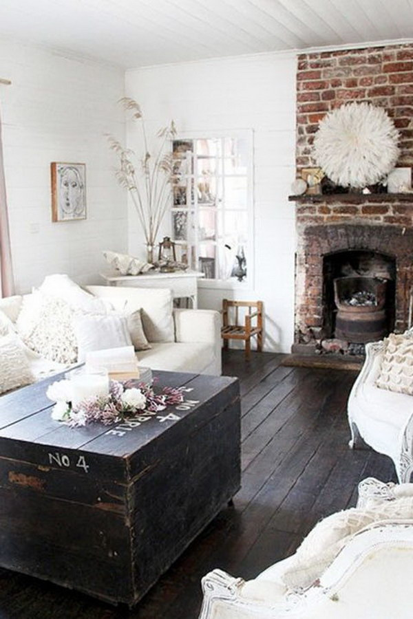 Rustic Living Room with an Exposed Brick Wall.