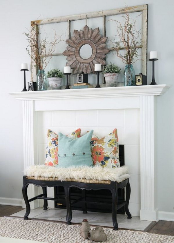 Living Room Mantel Decoration in Vintage Style.