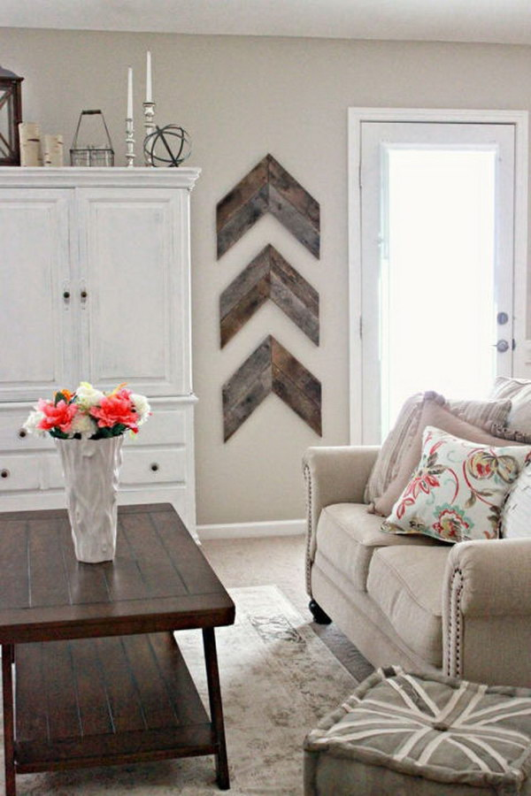Rustic Hardwood Wall Art In the Living Room.
