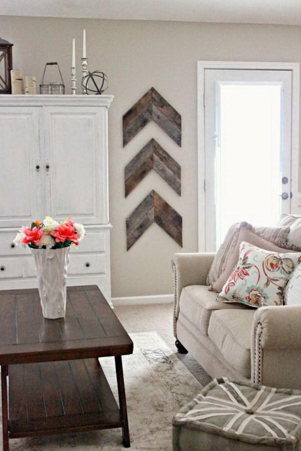 Rustic Hardwood Wall Art In the Living Room.