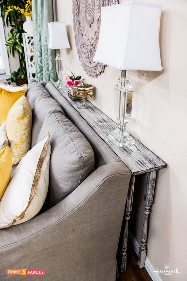 DIY Behind-the-couch Table for Your Rustic Living Room.