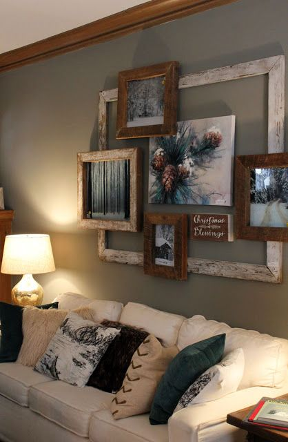 Rustic Hallway Gallery Wall In Living Room.
