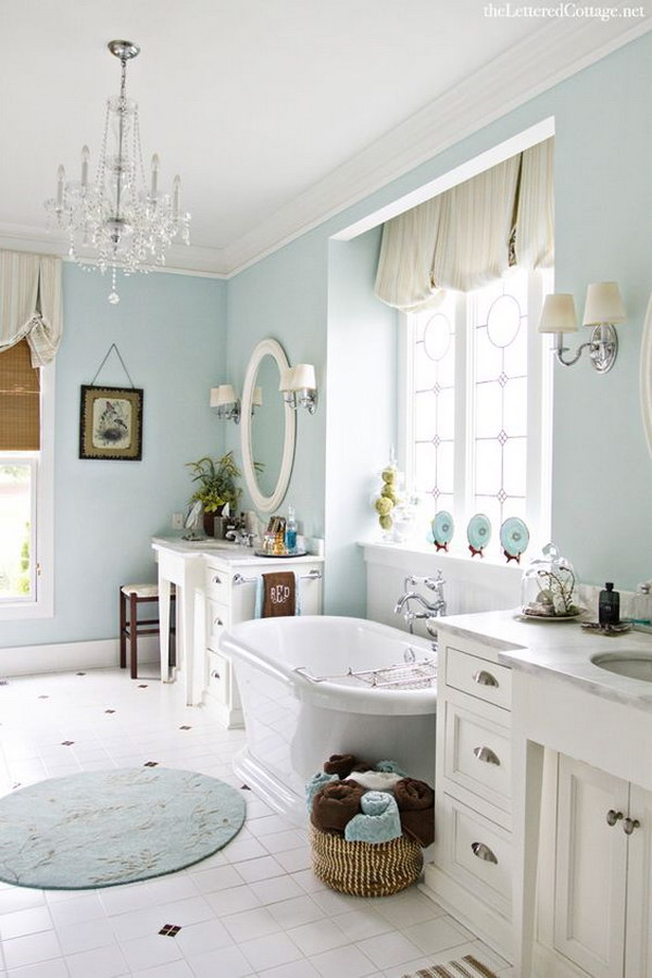 Aqua Shabby Chic Bathroom