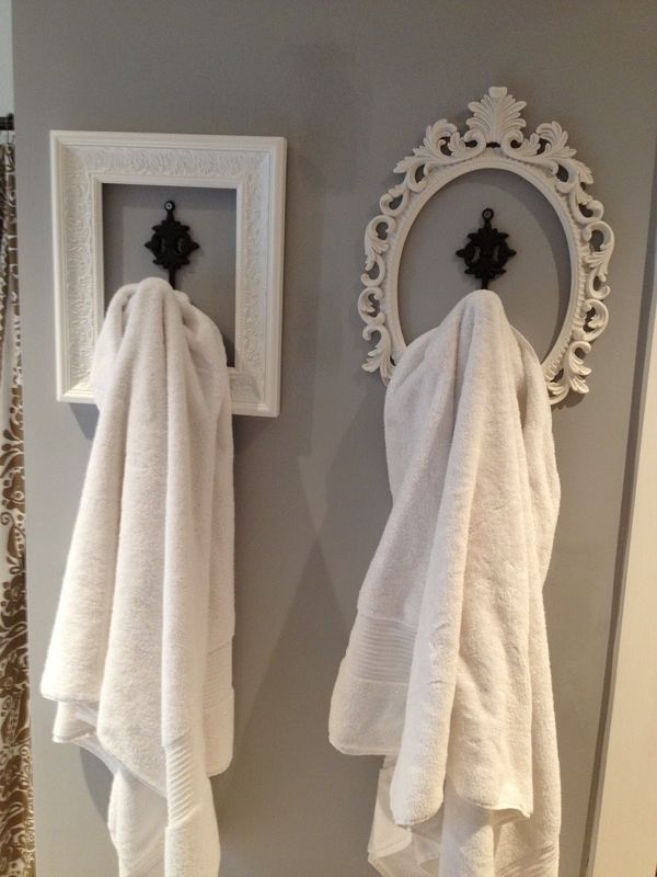 DIY Framed Towel Hooks