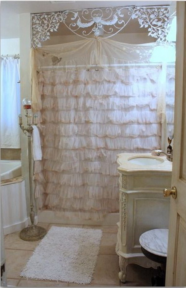 Shbby Chic Lace Shower Curtain