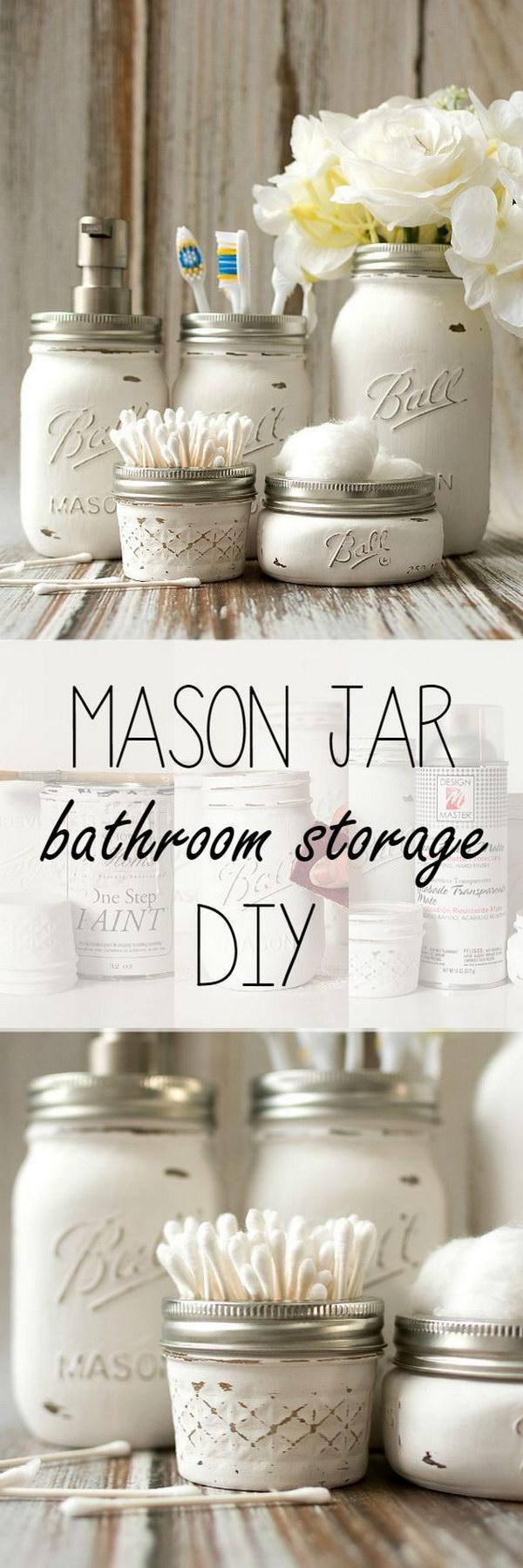 Chalk Painted Mason Jar Bathroom Accessories