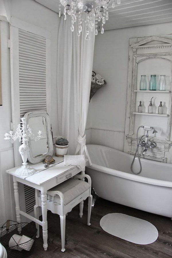 60 Awesome Shabby Chic Bathroom Ideas 2018