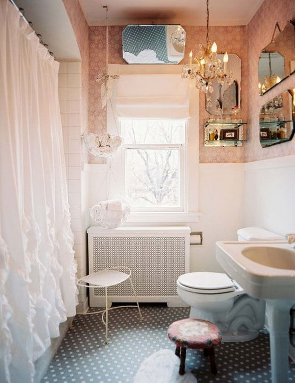 Shabby Chic Bathroom With Beautiful Shower Curtain And Mirrors