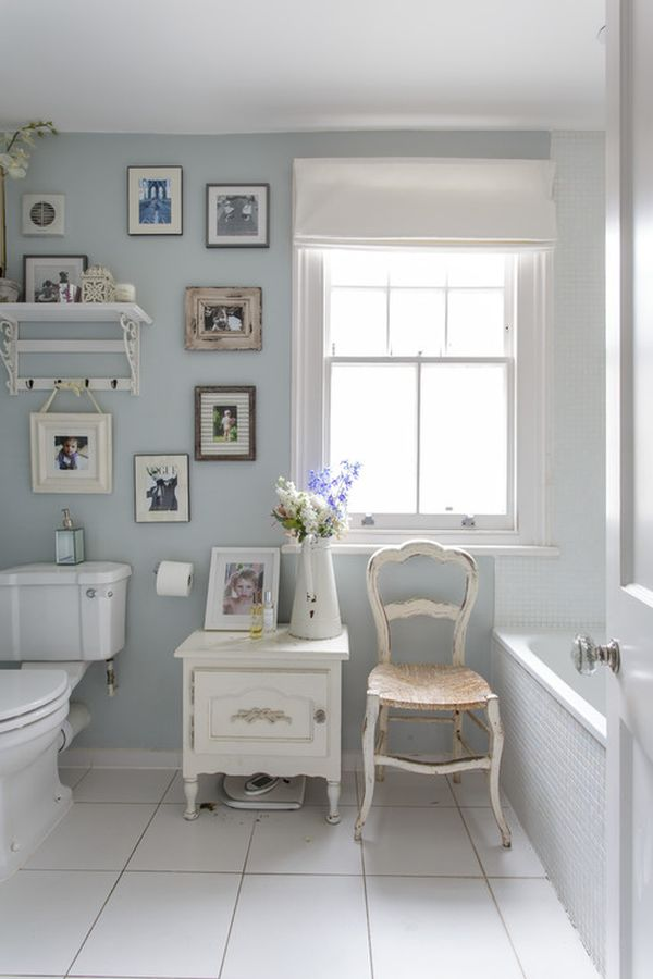 Light Blue Shabby Chic Bathroom Gallery Wall