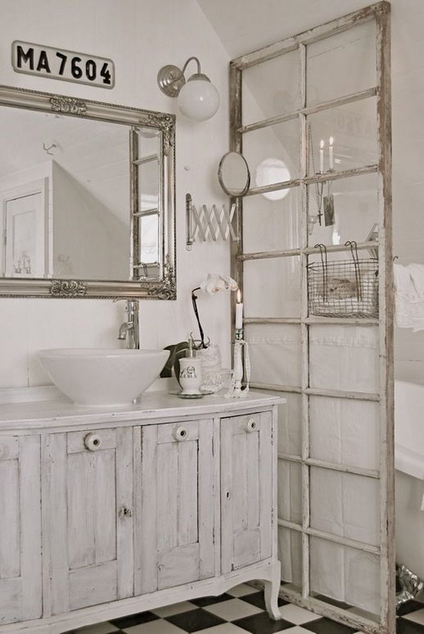 Old French Door For Bathroom Dividing