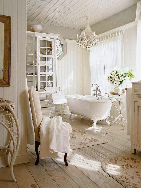 Romantic White Bathroom With Oak Plank Floor