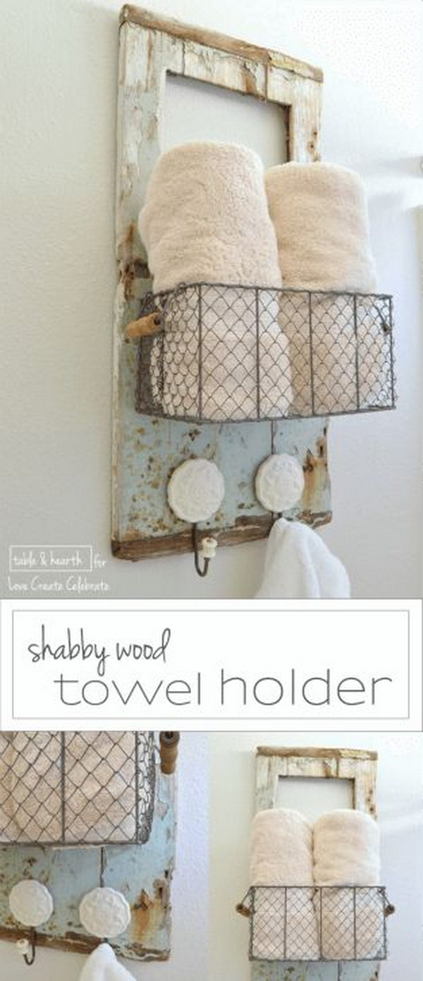 60 awesome shabby chic bathroom ideas 2017 for Shabby chic towel stand