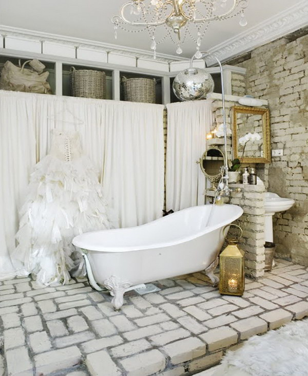 Shabby Chic Bathroom With Brick Wall And Floor