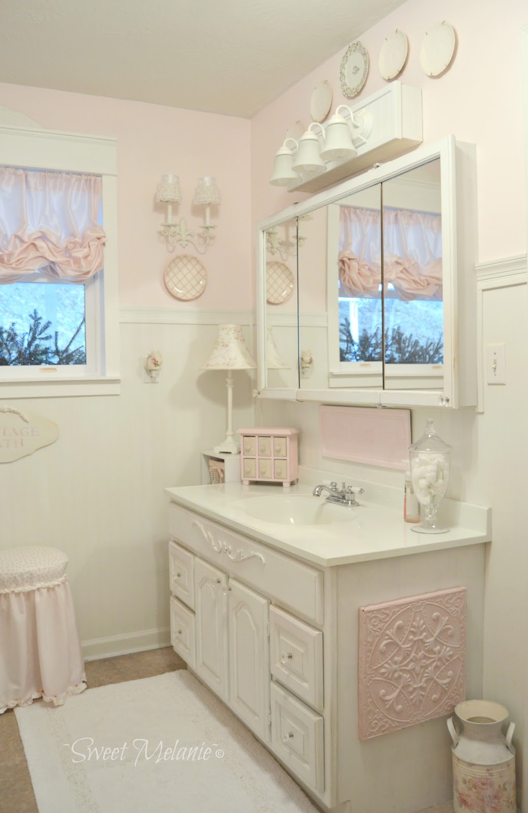 Cottage Chic Bathroom With Ruffles Window Treatments.