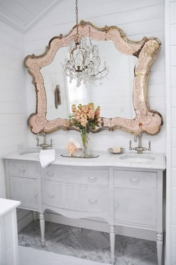 White Shabby Chic Bathroom With An Oversized Blush Vintage Mirror