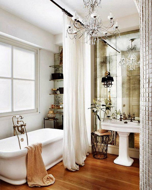 Gorgeous Shower Curtains And Antique-Look Mirror