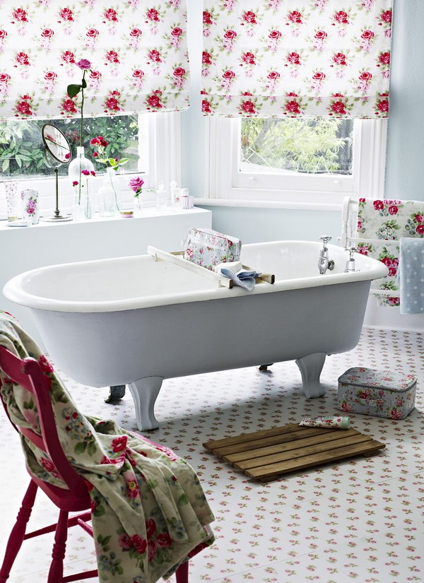 Feminine Chic Bathroom With Floral Curtains And Tiles
