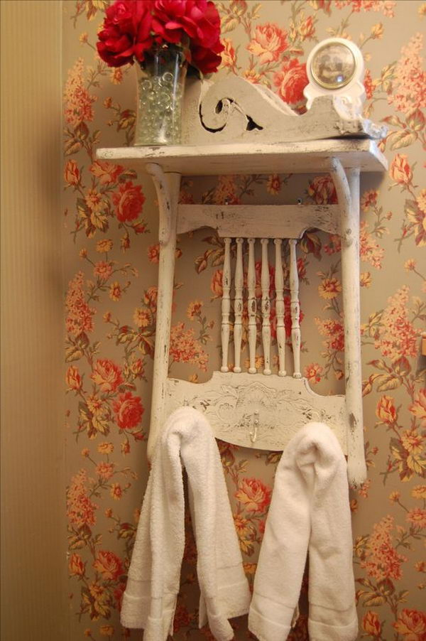 Shabby Chic Shelf From Vintage Press-Back Chair.