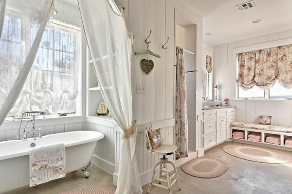 Comfy Shabby Chic Bathroom In White With Claw-Foot Bathtub