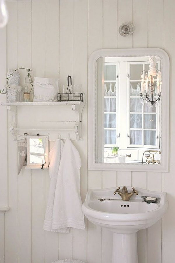 White In White Sbabby Chic Bathroom With Mirror And Shelf