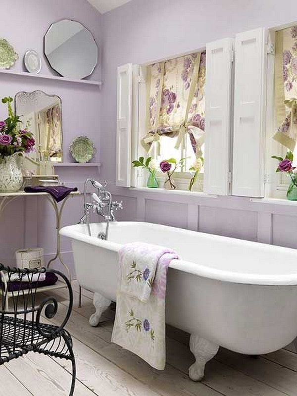 Lavender And White Shabby Chic Bathroom