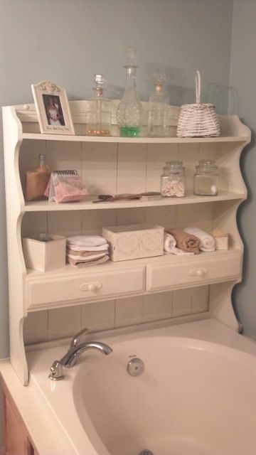 Shabby Chic Shelves For The Bathroom Upcycled From Top Of An Old Hutch.