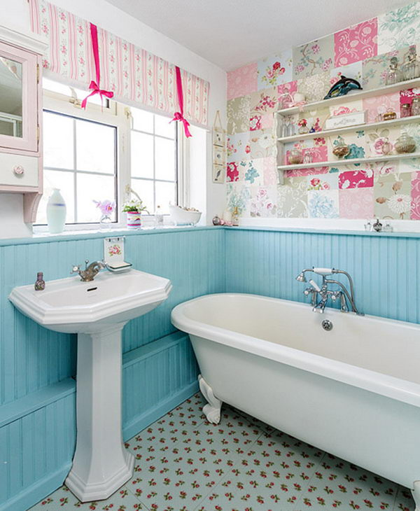 Shabby Chic Bathroom With Blue Wainscoting, Patchwork Wallpaper And Floral Tiles