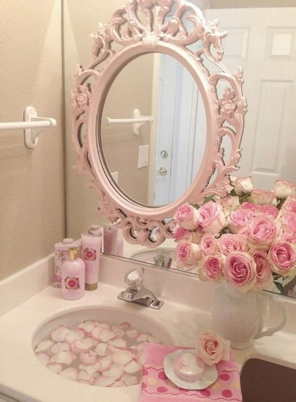 Romantic Bathroom With Pink Vintage Mirror