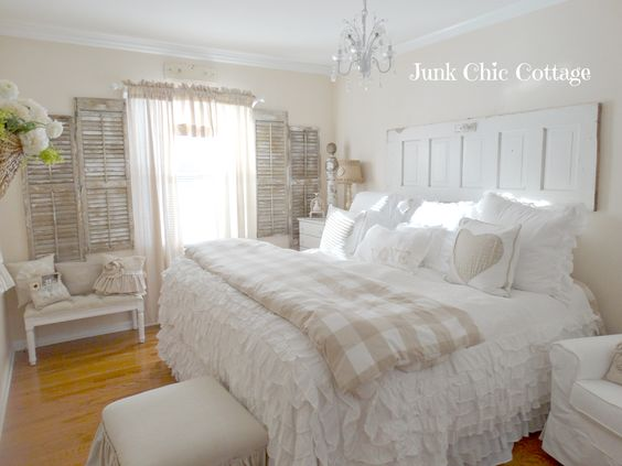 Serene White Guest Cottage Bedroom.