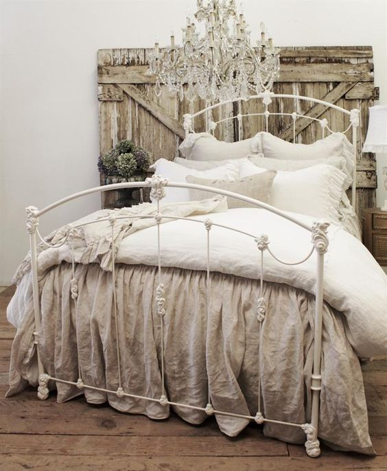 Shabby Chic Bedroom With Vintage Ruffle Coverlet.