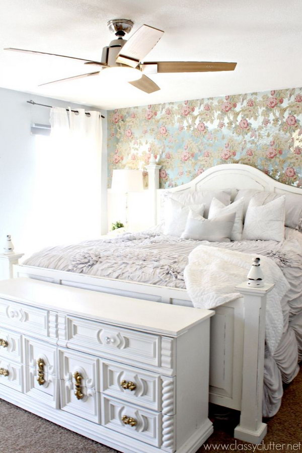 Full Patterned Chic Shabby Look from the Floral Wallpaper to the Bedding.