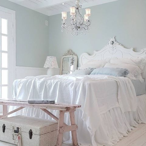 White And Blue Themed Shabby Chic Bedroom.