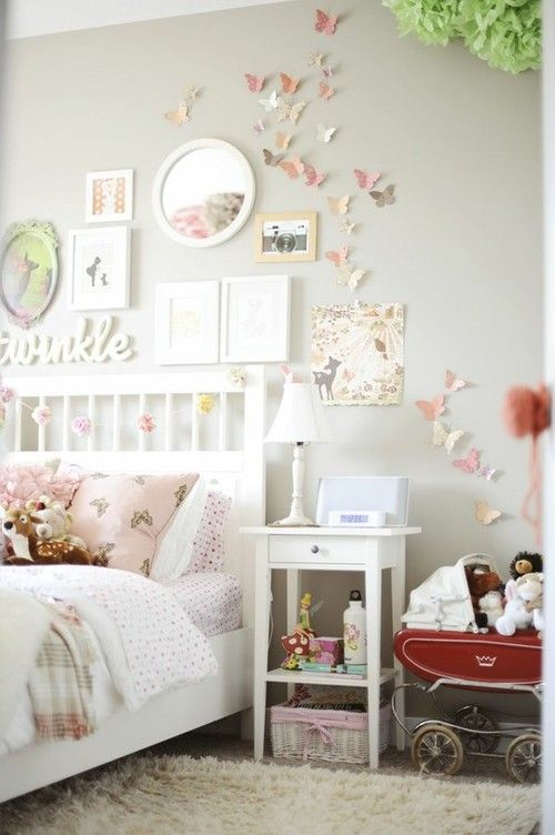 Shabby Chic Girls Bedroom With Butterflies On Wall.