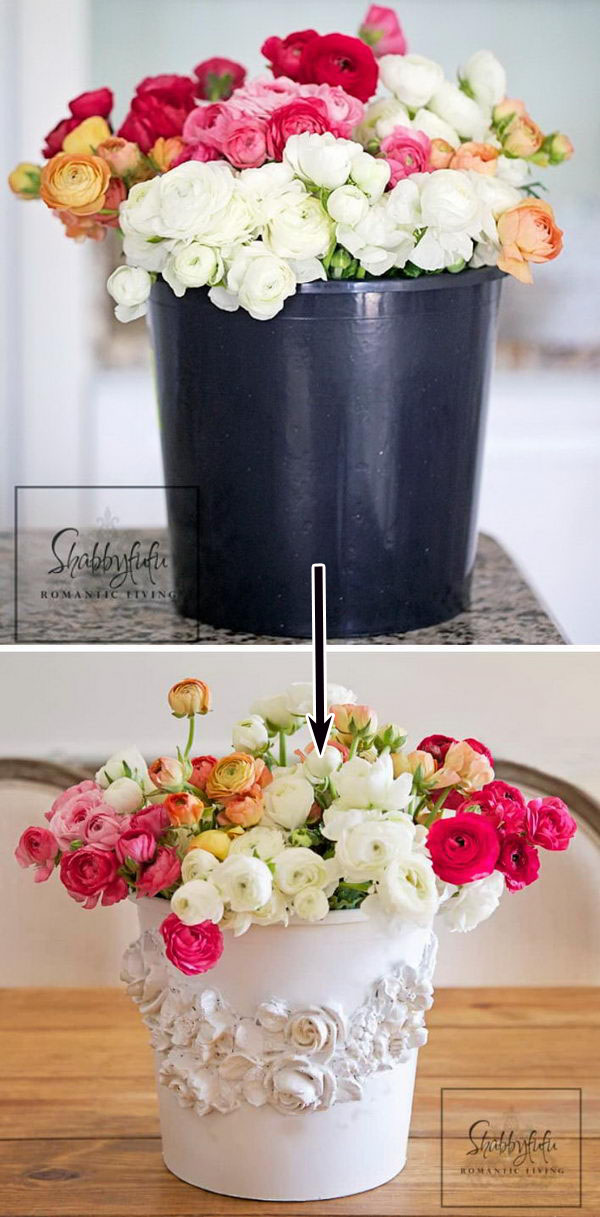 Black Plastic Bucket Turned Shabby Chic Florist Bucket