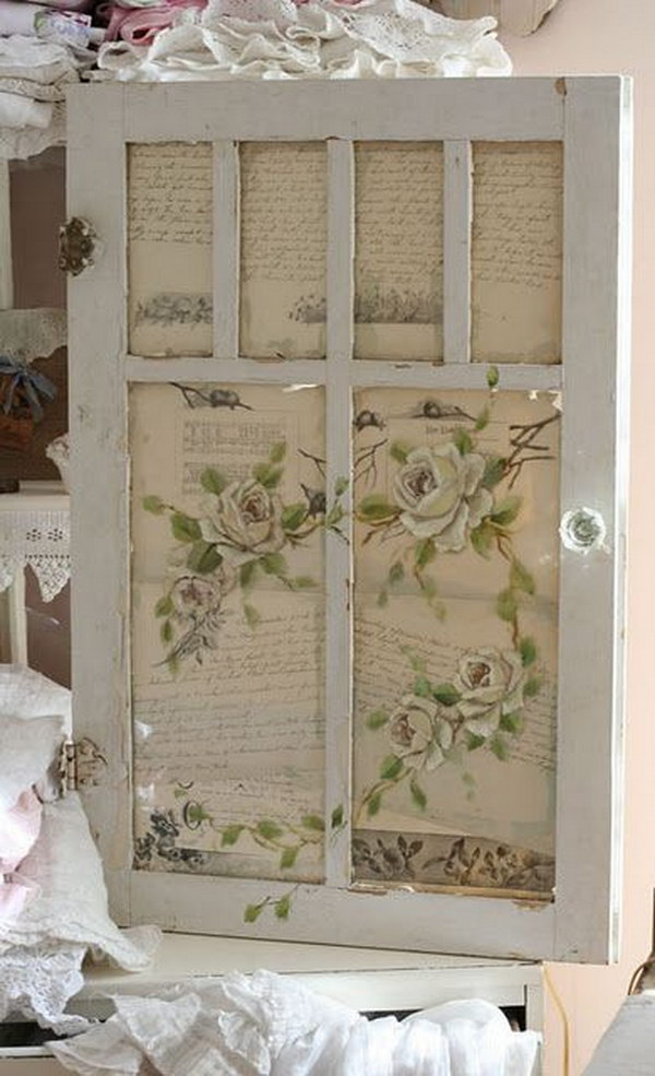 Vintage Bookpage Decorated Old Window