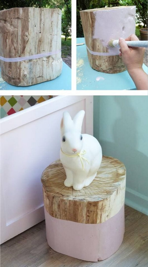 DIY Shabby Chic Tree Stump Table.