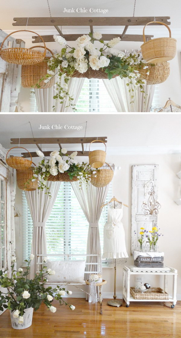 Shabby Chic Ladder With Baskets Overhead