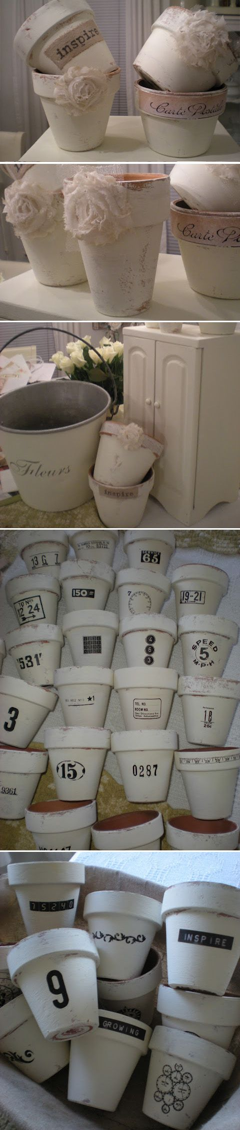 White Chalk Painted Terra Cotta Pots.
