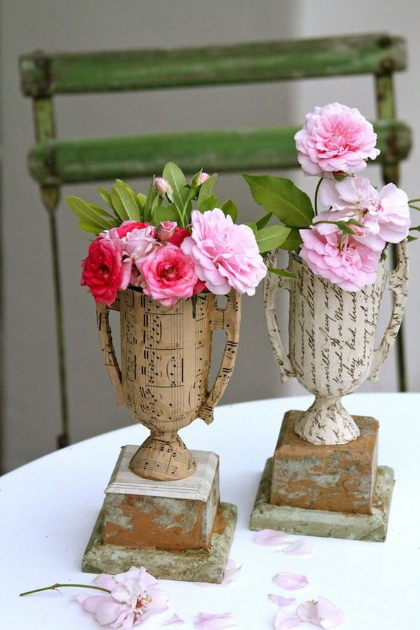 DIY Vintage Sheet Music And Book Page Vase From Plastic Trophies